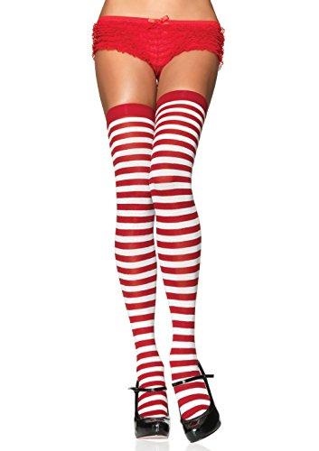 Leg Avenue 6005 - Overknee Halterlose Strümpfe Mit Streifen, Einheitsgröße (EUR 36-40), weiß/rot, Damen Karneval Kostüm (Kostüm Strümpfe Halterlose)