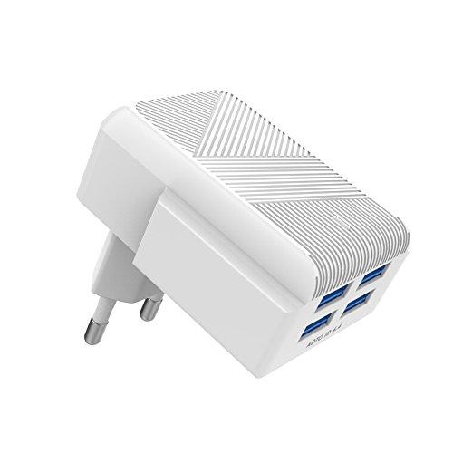 MOXOM USB Ladegerät 4 Port USB Netzteil USB Stecker mit Kabel Adapter Handys Smartphone für iPad, iPhone XS/X/ 7/7 Plus 6 6s Plus, iPad Pro, Galaxy S8/S7/ Note, Nexus, HTC, Motorola, LG und weitere