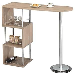 idimex bartisch stehtisch bartresen vigando sonoma eiche mit stauraum und flaschenhalterung. Black Bedroom Furniture Sets. Home Design Ideas