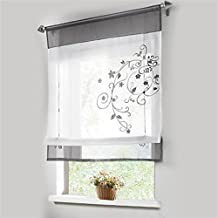 Cortina enrollable de flores, decoración para salón, dormitorio, estudio, color gris, gris, 100x140cm