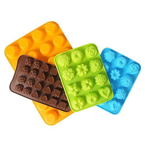 CESHMD Muffin Backform Silikon Mini DIY Schokolade Cookies backen Schokoladenform Silikon für Eiswürfel, Bonbons, Gelee, Cupcake, Brownie - 12/24 Tassen - 4 Pack (Tassen Silikon Cupcake)