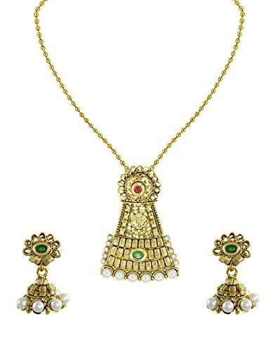 Zaveri Pearls Antique Gold Look Pendant Set For Women - ZPFK5528