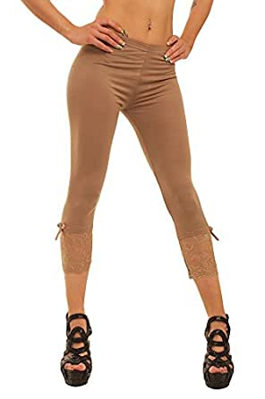 10054 Fashion4Young Damen Sexy Capri-Leggins Leggings 3/4 Hose mit Strass oder Schleife Gr. 34 36 38 (One Size 34 36 38, Braun)