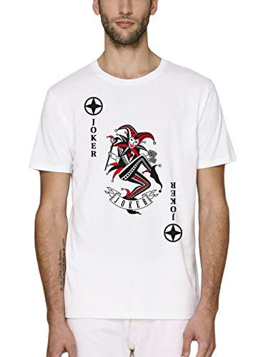 Kostüm Schwarz Rot Und Joker - clothinx Herren T-Shirt Bio und Fair Karneval & Fasching Spielkarte Joker Kostüm Weiß/Schwarz_Rot Größe M