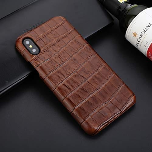 Leopard-Muster Phone Fall Für iPhone X/XS Business Style Krokodilbeschaffenheit Stoßfeste Rindsleder Schutzhülle (Farbe : Braun) -