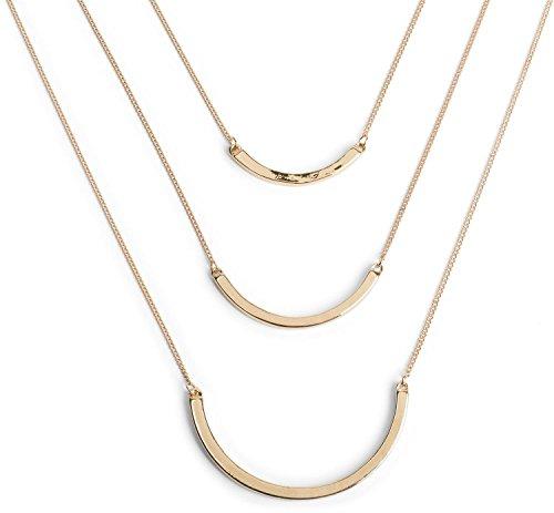 styleBREAKER 3-reihige Layer Halskette mit gebogenen Schmuckelemente Anhänger, Panzerkette, Kette, Schmuck, Damen 05030034, Farbe:Gold