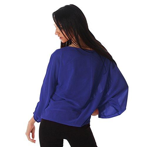 Unbekannt Damen Bluse Blusenshirt Shirt Top Tunika Gummibund Rundhals Ausschnitt Blau
