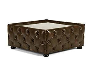 Table basse CHESTERFIELD 100x 100en cuir marron