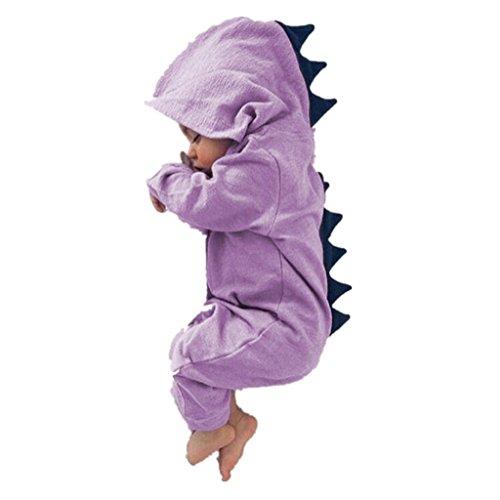 y Mädchen Overall mit Kapuze Strampler Dinosaurier Kostüm für Neugeborene Kleinkind Klettern Kleidung size 0-6M (Lila) (Dinosaurier-kid Kostüme)