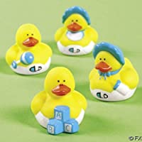 24 Mini Baby Boy Rubber Duck Duckys Blue Shower Favors by Fun Express - Ducky Baby Shower