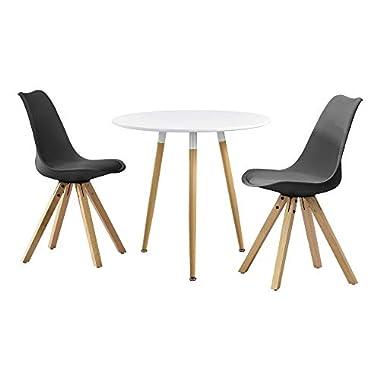 [en.casa] Esstisch rund [Ø80cm] mit 3 Stühlen gepolstert Esszimmer Essgruppe Küche