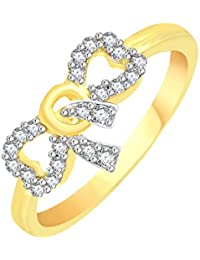 Vidhi Jewels Gold Plated Bow Pattern Diamond Studded Alloy & Brass Finger Ring For Women And Girls [VFR105G]