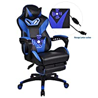 YOURLITEAMZ Racing Gaming Chair with Footrest Height Adjustable Reclining Computer Chair, Desk Chair High Back with PU Leather for Home Office