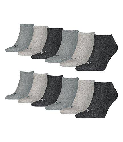 Puma unisex Sneaker Socken Kurzsocken Sportsocken 261080001 12 Paar, Farbe:Grau, Menge:12 Paar (4 x 3er Pack), Größe:43-46, Artikel:-800 anthracite/l mel grey/m mel grey