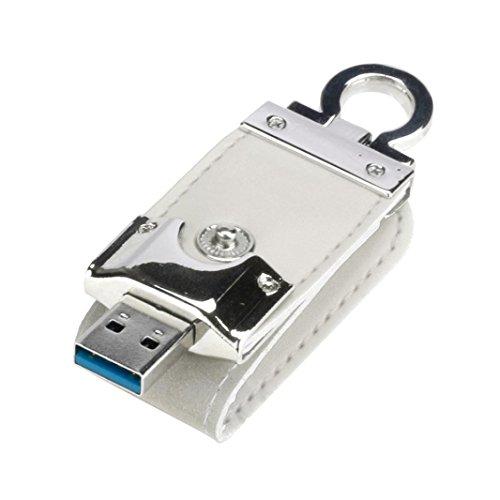 Hunpta USB 3.0 8GB/16GB / 32GB/64GB/ 128GB Business Leder Flash Laufwerk Memory Stick U-Disk (Weiß, 8GB)