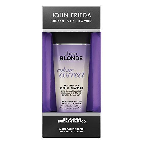 John Frieda Sheer Blonde Colour Correct Anti-Gelbstich Spezial-Shampoo - 1 x 125 ml - neutralisiert gelbstichiges Blond - reinigt das Haar - verleiht Glanz