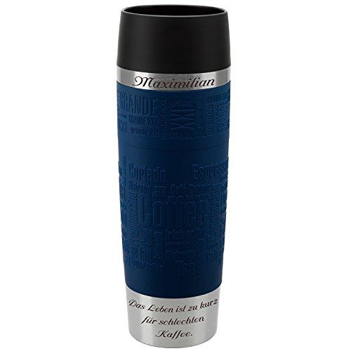 Emsa Thermobecher Travel Mug Grande Blau 500 ml mit persönlicher Rund-Gravur gelasert Edelstahl Soft-Touch-Manschette Quick Express Verschluss (Elmo 1. Geburtstag Ideen)