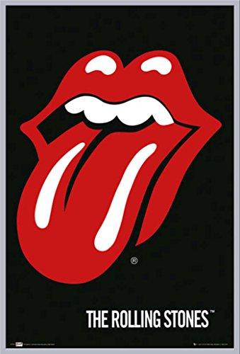 """Poster: Rolling Stones-Lips """", con accessorio incluso, Cornice in plastica argento, 61 x 91,5 cm"""