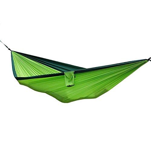 XLORDX Outdoor Camping Ultraleichte Nylon Hängematte Mehrpersonen 210 x 140 cm für 2 Personen, Belastbarkeit bis 300 kg Grün