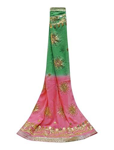 PEEGLI Indische Jahrgang Georgette Mischung Dupatta Traditionelle Ethnische Grüne Lange Gestohlene Frauen Designer Pailletten Schal Blumenmuster Chunni -