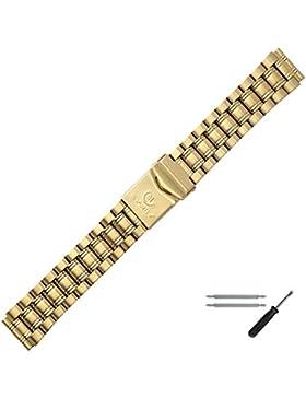 MARBURGER Uhrenarmband 18mm Edelstahl Gold - Edelstahl - Inkl. Zubehör - Ersatzarmband, Schließe Gold - 84301000020