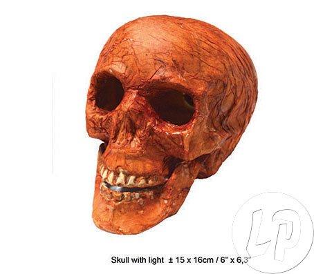 Funny Fashion Zubehör Totenschädel mit Licht Halloween Totenkopf Skelettkopf Dekoartikel Horror Grusel Halloweendeko Pierros