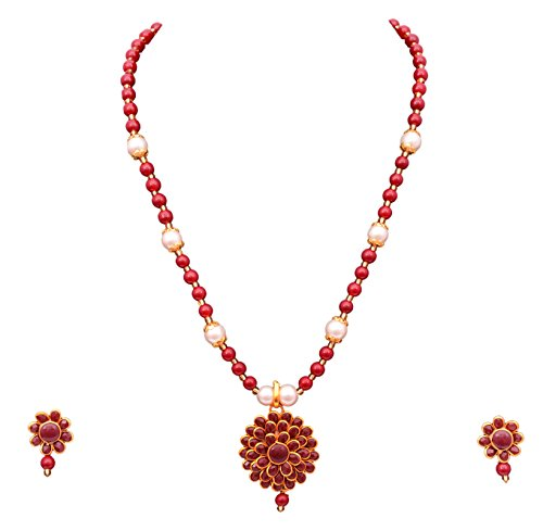 Best Valentine Gift Sitashi Artificial Fashion Jewellery Collection Rajasthani office wear floral Design Necklace Set For Women  available at amazon for Rs.249