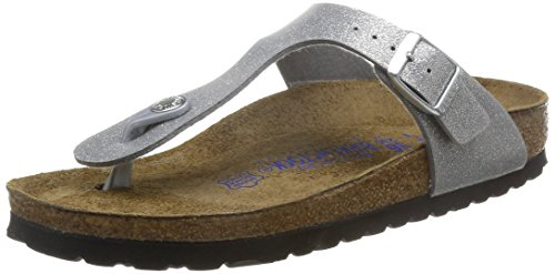 Birkenstock Gizeh Leder Softfootbed, Tongs mixte adulte Argent - argent