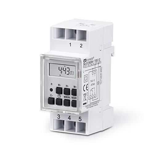 conecto Digitale Zeitschaltuhr für Hutschiene Schalttafel-Einbau | LCD-Display | 10 Schaltprogramme (Wochen-/Tages- und Minutenprogramm) | Sommerzeit + 12/24h Timer | IP20 | 3600W | weiß