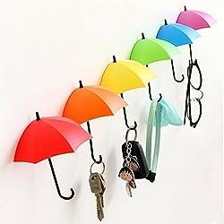 Tangmi, ganci e portaoggetti da parete a forma di ombrelli colorati, 6 pezzi