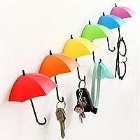 Perchero de pared autoadhesivo con diseño de paraguas coloridos, de Tangmi, para llaves, decoración de pared, piezas pequeñas y joyas, Paquete de 6