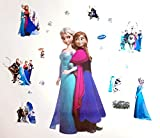 Kibi Wandtattoo Frozen Wandaufkleber Babyzimmer Frozen Elsa und Anna Wandsticker Frozen Disney für Kinderzimmer Living Room Removable Prinzessin Elsa Anna Wandtattoo Kinderzimmer Frozen Olaf