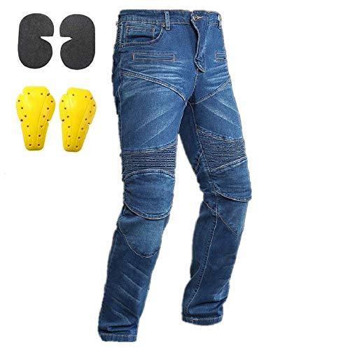 "Hombre Mujer Motocicleta Pantalones Moto Pantalón Mezclilla Jeans Con Azul (M- (Waist 33""))"