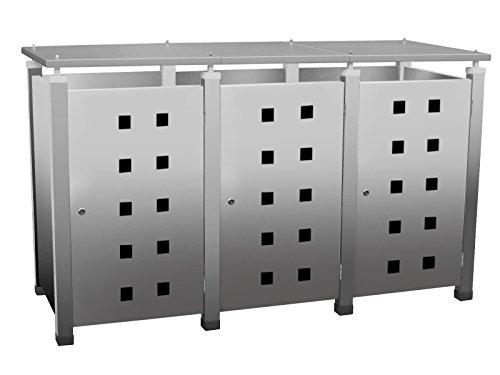 Mülltonnenbox, Mülltonnenverkleidung, Mülltonnenhaus für drei 240 ltr. Tonnen in Edelstahloptik