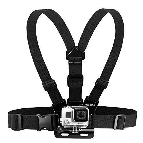 Wealpe Brustgurt Halterung Brusthalterung Chest Mount Kompatibel mit GoPro Hero 7, Fusion, Hero (2018), 6, 5, 4, Session, 3+, 3, 2, 1, Xiaomi Yi Kameras
