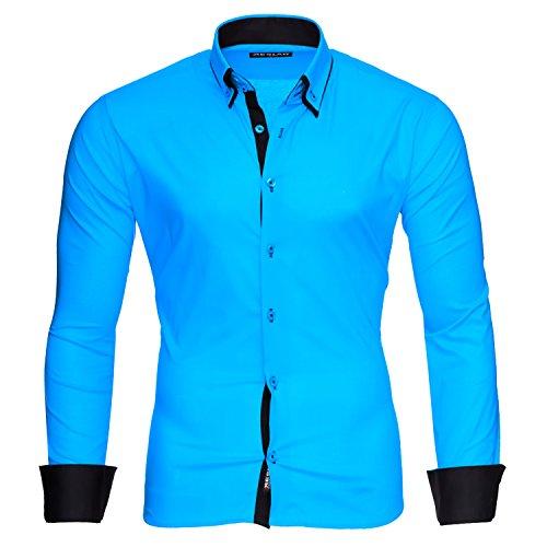 Reslad Herren Hemd Männer Hemden slim Fit bügelfrei Freizeit Business langarm 2 Knopf 2 Kragen RS-7050 Türkis Schwarz Gr S