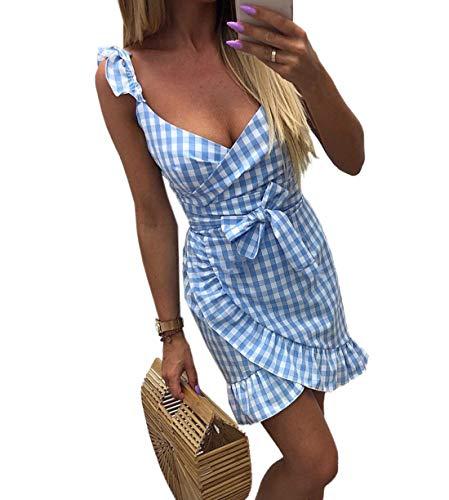 Woweal Sommer Damen V-Neck Minikleid Trägerkleid Fashion Lotusblatt Seite Gitter Kleid Partykleid...