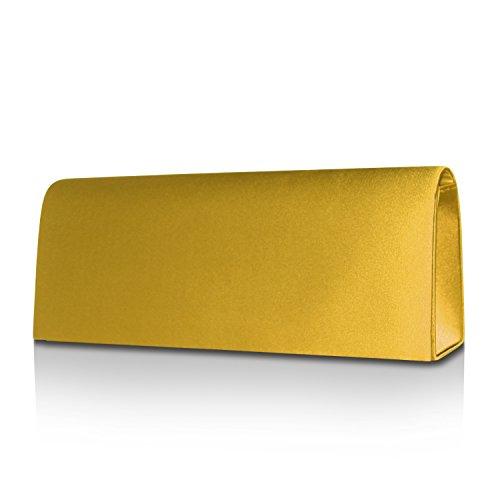 Gloop Damen Satin Clutch Tasche Handtasche Party Hochzeit Abendtasche Umhängetasche CT201701 22001 Gold