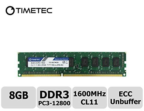 Timetec 8GB Modul Dual Rang PC3-12800 DDR3-1600 (CL11) 2Rx8 240-Pin 1.35V Unpuffer DIMM ECC Server Workstation Speicher Upgrade, Server Premier Hynix RAM Chip für Dell: PowerEdge C5220, T20, Precision Workstation T1650, T1700. HP: ProLiant DL120 G7, HP ProLiant MicroServer Gen8, ML10, ML310e Gen8 v2 (G8), Workstation Z1, Z220 CMT / SFF, Z230 Tower / SFF, Z420 und mehr - lebenslange Garantie (8GB) (Poweredge-dimm-speicher)