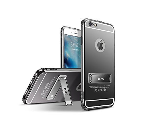 "Mirror Metal Bumper Case Cover, iPhone 6 Coque 4.7"" Coque avec Stand Support Luxe Noble Metal Frame Etui, MOMDAD Housse iPhone 6 Coque 4.7"" Case PC Soft Couvrir Back Cover Coquille Arrière Shell Houss Mirror-Noir"