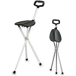 Bastón de aluminio con asiento plegable