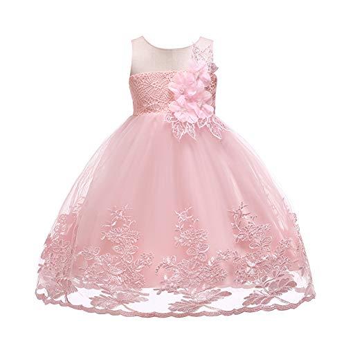 aadb358888e2 YFCH Bambina Filati Netti Ricamo Fiore Vestiti da Cerimonia Eleganti Senza  Maniche Matrimonio Partito Comunione Abiti