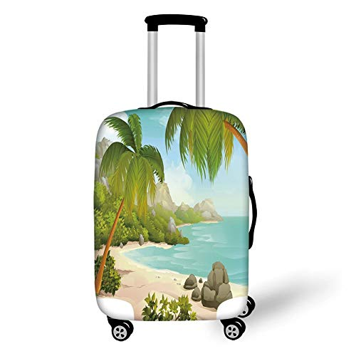 Travel Luggage Cover Suitcase Protector,Tropical Decor,Exotic Beach with Coconut Palm Trees and Rocks Journey Ocean Coastal Design,Aqua Green,for Travel
