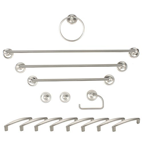 Century Hardware 80015-15Pull Aria President Suite Bath Accessory Set Including C.C. Pulls, 96 mm, Satin Nickel, 15 Piece by Century Hardware (Satin Cc)