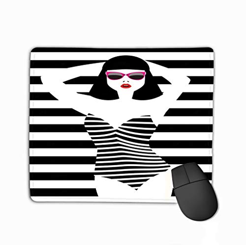 Mouse Pad Beautiful Young Woman Sunglasses Swimsuit Retro Style pop Art eps Cool Rectangle Rubber Mousepad 11.81 X 9.84 Inch