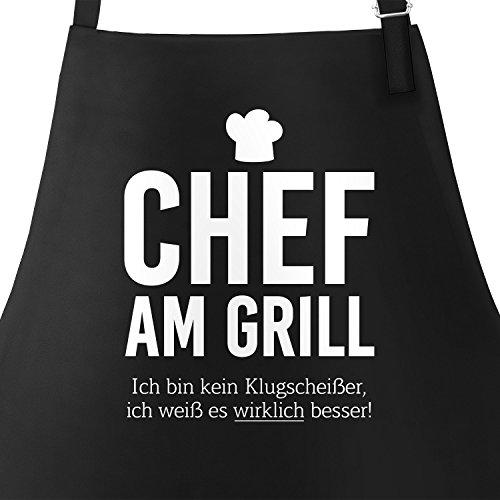 MoonWorks Grill-Schürze für Männer mit Spruch Chef am Grill Ich Bin Kein Klugscheißer, Ich Weiß es Wirklich Besser Küchenschürze Schwarz Unisize