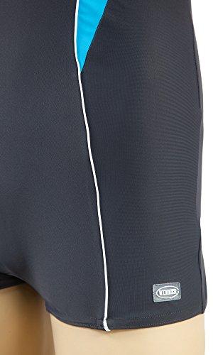 Gwinner costume sportivo costume da bagno delle donne costumi da bagno un pezzo unico con una gamba estesa molto confortevole e elastici, con morbide coppe estraibili, qualità, made in Janna UE grigio/turchese