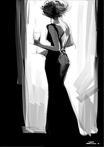 5D DIY Diamond Painting Kit, Prenez un verre de jupe noire Lady Rhinestone Broderie Cross Stitch Arts Craft pour décoration intérieure 11,8 * 15,7 pouces (30 * 40 cm)