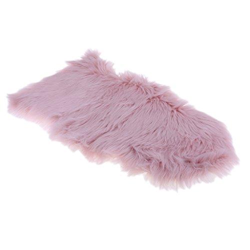 Baoblaze Kunstfell Künstliche Schaffell Teppich, 50cmx80cm Bettvorleger in verschiedenen Farben - Hell-Pink