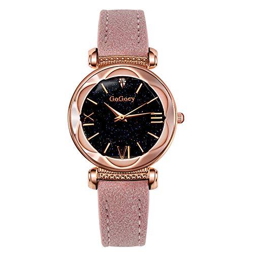 Xxam Uhren Frau Quartz Uhr Kreativ Sternenklarer Himmel Einfach Rahmen Irregulär Spiegel Geschenk Armband,Pink